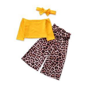 Ins 2020 new fashion girls suits leopard print girls outfits Tops T shirt+Wide-legged pants+bows headband 3pcs set girls clothes B241