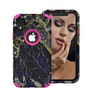 For iPhone Xr Case 3in1 Marble Defender Case Hybrid Dual Layer Rugged Protection Phone Cases for iPhone Xr Xs Max