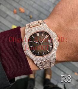 R8 migliore vigilanza del diamante di qualità 5719 movimento automatico della vigilanza impermeabile Uomo 40 millimetri in acciaio Sweep Spostare Set Diamante ghiacciato fuori Guarda