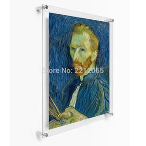 """(Pack / 5 ünite) Özel 24x36"""" Duvar Artwork ve Posterler için Akrilik Lucite Yüzer Frame, Pleksiglas Galeri Çerçeveler Monteli"""