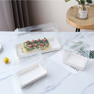 boîte de rouleau de gâteau transparent écologique PET boîte de gâteau au fromage à main plastique vert boîte rouleau suisse XD22241