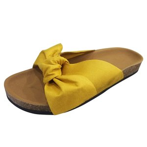 Women Summer Slippers Fashion Bow Tie Flat Thick Bottom Heel Sandals Slipper Rome Beach Sandals Shoes Size 35-43 #121 Y200706