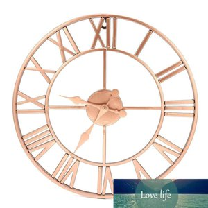 Metal Rose gold Copper Roman Openwork Silent Wall Clock Home Decor Living Room Simple Design