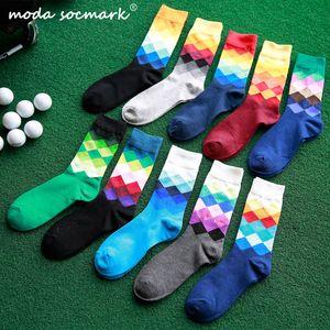 Moda Socmark Sıcak Satış Erkek Marka Mutlu Çorap Gradient Renk yaz Stil Pamuk Düğün çorap Erkekler Uzun Yüksek İş Çorap adam