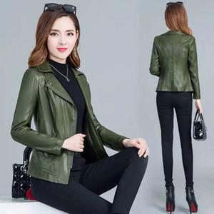 Cappotto in pelle da donna Orwindny Plus Size 5XL Giacca in pelle verde militare Donna Slim Casual Autunno Abbigliamento Base Cerniera in pelle scamosciata