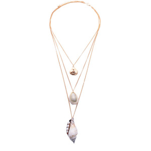2020 Nova moda Corrente de Ouro Fashion Party mar do Seashell do caracol Conch Pérola Colar Verão coreano Jóias