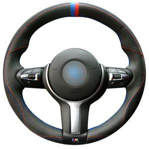 Cosida a mano Negro genuino de piel cubierta de la rueda del coche de BMW M Sport F30 F31 F34 F10 F11 F07 F45 F46 F22 F23 M235i M2