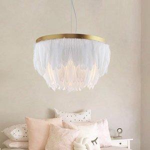 Phezen Nordic Feather Pendant Lamp Light Romantic Fabric Chandelier INS Fairy Feather Ceiling Hanging Lighting Suspension