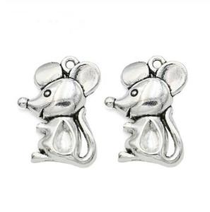 100pcs souris souris alliage Pendentif Charm Charm animal mignon bricolage main bijoux cadeau 24x18mm