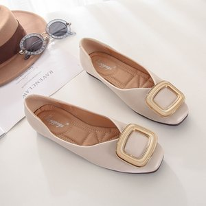 2020 Spring Women Soft Leather Ballerina Flats Comfortable Green Pink Beige Ballet Flats Square Toe korean Boat Shoes Plus Size