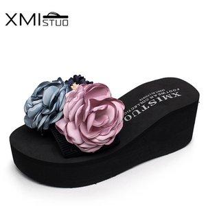 XMISTUO elastik kayış Flip-flop Sandalet Terlik rahat kıyafet plaj ayakkabıları ile güzel çiçekler yeni kadın terlik El yapımı