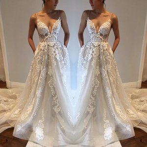 Sexy Bohemia Wedding Dresses with Pockets Spaghetti Straps Backless Chapel Train Tulle Vintage Lace 2020 Plus Boho Beach Bridal Gowns