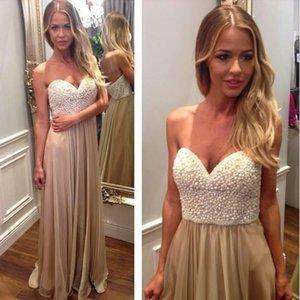Real Imagen Champagne vestido de noche largo 2015 grano de la perla amor barato Vestido de gasa Renda partido del Prom viste los vestidos