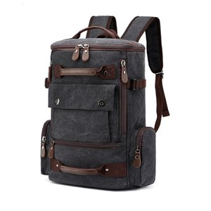 Canvas Men Vintage mochila Masculino Backpack 15.6 '' de 17 polegadas Laptop sacos Outdoor Viagem Back Pack adolescente bagagem Mochila CJ191201