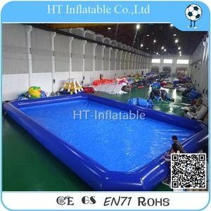 Topu / Dikdörtgen Aile Şişme Havuz için Ücretsiz Kargo 7x7m Mavi Şişme Su Pool /0.9mm büyük hava Sıkı Şişme Su Havuzu.