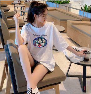 2020 New Womens Designer T-shirts Long Length Summer Loose Breathable Plus Size Womens Cloths Carton Stlye Fashion Mouse Print Cloths