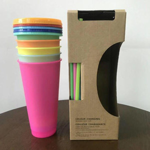 24oz Temperature cold Color changing Cup Reusable Magic Coffee Mug Plastic Drinking Tumblers with Lid and Straw