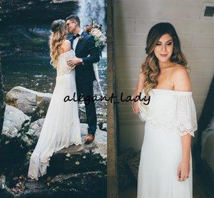 Woodsy Boho Sofistike Gelinlik Chic kapalı omuz Omuz Tığ dantel plaj Gelin Kıyafeti Elegance Vestido de noivas