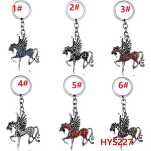 6Diseño Pegasus Necklace Keychain Micro-Inlaid Diamond Unicorn Keychain Keyring Año Nuevo Bolso llavero Regalo 120pcs / lot HYS227