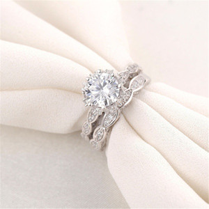 VECALON 2016 Vintage Engagement Ehering Band Ring Set für Frauen 3CT Simulierte Diamant CZ 925 Sterling Weibliche Partei Ring