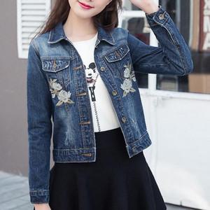 Nuovo arrivo Rose Embroideried Giacca di jeans per le donne nuova Primavera Autunno manica lunga Casaco Feminino elegante della Chaquetas Mujer