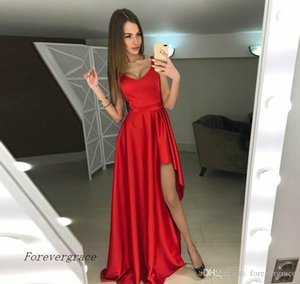 2019 Modern High Low Red Prom Dress Cheap V Neck Sleeveless Formal Holidays Wear Evening Party Gown Custom Made Plus Size