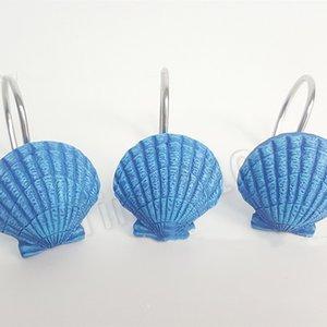 bleu rideau anneaux résine Rideau De Bain Crochet Starfish conque Shell modélisation de bain robe crochets suspendus HooksT2I5399