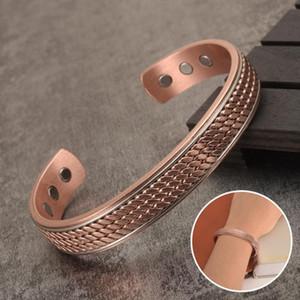 Braccialetti di rame intrecciati per le donne gli uomini Energia braccialetto magnetico Vantaggi uomini bracciale bracciali regolabile Bangles Salute rame