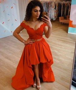 2020 Two Pieces A-Line Long Lace V-neck Prom Dresses Robe De Soiree Hi-lo Evening Gowns Satin Vestido De