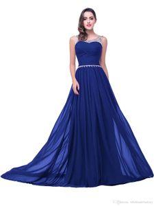 Royal Blue gasa largo vestido de dama de 2020 cristales moldeados Sheer cuello acanalada huésped de la boda vestidos de noche de baile 100% CPS104 Real Imagen