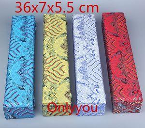 Luxus Verlängern Lange Schmuckschatulle Holz Scroll Malerei Geschenk Verpackung Dekorative Chinesische Seide Stoff Aufbewahrungsbox 36x7x5,5 cm