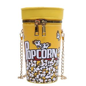 Sıcak Komik Popcorn Kepçe Çapraz Vücut Çanta Yaratıcı Üç Boyutlu Kepçe Çanta Kadın Kişiselleştirilmiş Zincir Omuz Çantası Direkt Satış Toptan