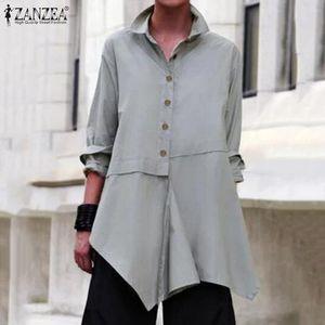 2019 ZANZEA Elegant Women Blouse Casual Lapel Neck Long Sleeve Shirts Female Asymmetrical Hem Solid Tops Plus Size Work Blusas 7 T200320