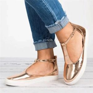 KHTAA Donna Sandali Plus Size Estate femminile scarpe basse T Strap Donna Piattaforma Fibbia sandalo casuale signore Calzature