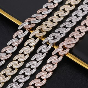 Il nuovo oro placcato 14 millimetri deigner Mens ha ghiacciato fuori il diamante pieno Girocollo Cuban Catena collana per gli uomini Bling Jewelry Cubic Zirconia catene di Hip Hop