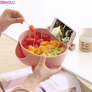 Regalo directo de fábrica de placa de la fruta seca de la capa doble de teléfono móvil titular Melon Seed Box Lazy Artefacto de doble capa de drenaje rectángulo de la fruta