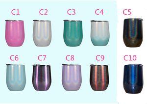 12OZ بريق زجاج النبيذ Gliter النبيذ بهلوان 12OZ الفولاذ المقاوم للصدأ البيض كأس Stemless الاطفال غير قابلة للكسر القدح فراغ العزل شرب كوب
