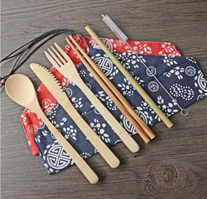 Bamboo Cutlery Set Portable Flatware Sets 7PCS SET Knife Fork Spoon Straw Chopsticks Student Tableware Set Travel Dinnerware Set SN1154