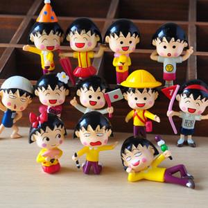 12pcs / lote 5 centímetros Chibi Maruko Chan Acção Figuras Sakura Momoko bonecas de PVC Figura garagem Kit Brinquedo Brinquedos anime