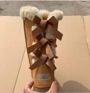 Hot Vente- 35 à 46 nouvelles bottes de neige australien chaud mode tube central chaussures des femmes de coton bowknot raquettes de forage cowskin chaussures en cuir véritable