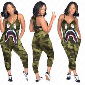 S-3XL Frauen Designer Camo Farbe Strapse Jumpsuit Shark Mund Druck einteilige Hosen arbeiten reizvollen V-Ausschnitt Body Schlank-Hose D52705