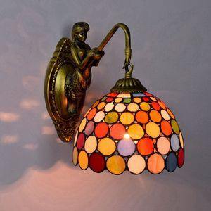 retro lámpara europea de pared única cabeza del vitral de Tiffany viven barra de dormitorio sala de comedor pasillo pared del balcón colorido luces TF011