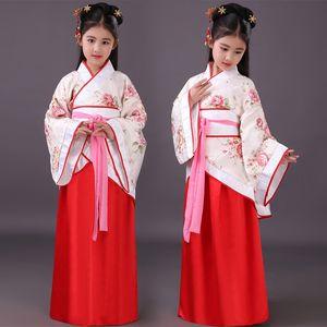 Chinois Hanfu Filles Robes Enfants Chinois Costume Enfants Ancienne Fée Dynastie Des Tang Han Qing Hanfu Robe Folk Vêtements DN2570
