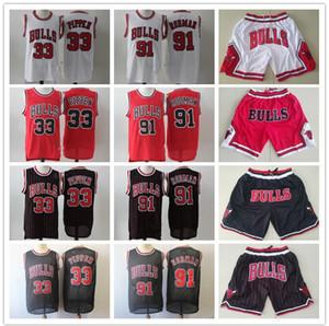 De los hombresChicagoTorosRetroceso jersey scottie 33 Pippen Dennis 91 Rodman Baloncesto Shorts Basketball Jersey Rojo Negro Blanco KK
