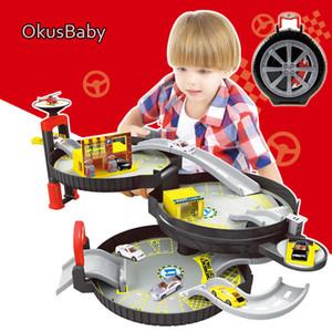 2018 Spiral Merdane Raylı Alaşım Araçlar Çocuklar Şehri Kapalı Otopark Toy City Car Truck Araç Oto 2 Katlı Seti Lastik Araç CJ191217 oyna