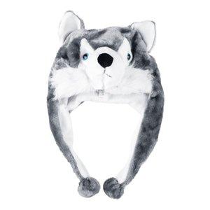 Cartoon Animal style Hood Wolf Hat Hoods Beanies Cute Fluffy kids Caps Soft Warm Scarf Earmuff Plush Huskies Hats 2018 Hot Sales
