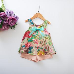 Çocuklar Kızlar Giyim Seti Moda Yaz Çiçek Kolsuz Tank Yelek Üstleri + Etek Kıyafet Seti kızın çocuk suit çocuklar yaz pantolon KKA6951