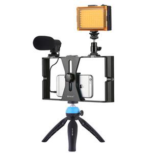 PULUZ 4 في 1 الزي مشاركة في مدونة فيديو بث مباشر الهاتف الذكي الفيديو مع 4.6 بوصة LED حلقة الصور الشخصية للضوء أطقم للحصول على غالاكسي هواوي XIAOMI HTC LG