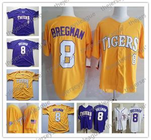 LSU Tigers Custom Любое имя Любое число Сшитый Фиолетовый Белый Желтый # 8 Алекс Брегман 27 Аарон Нола NCAA Колледж бейсбола Джерси S-4XL