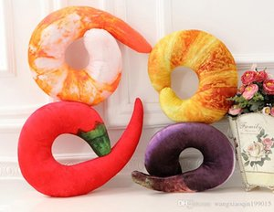 Creative Shrimp Croissant Chili Pepper Eggplant Shape U Type 3D Neck Pillow Cushions Nap Throw Pillow Stuffed Plush Toys Gift